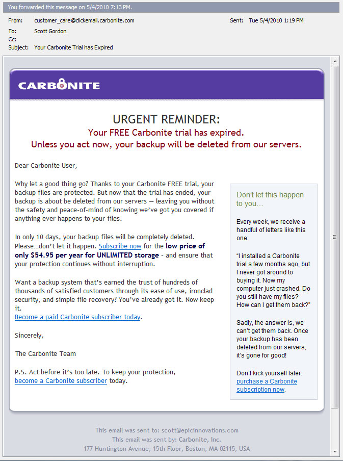 Carbonite Email